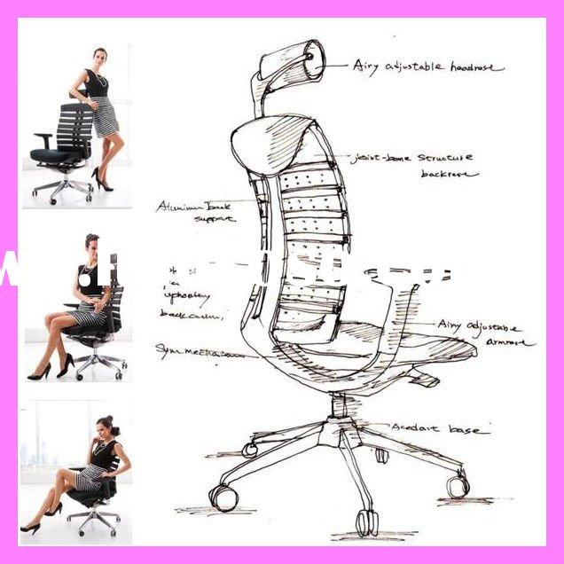 2011 stylish ergonomic high back mesh office chair with headrest