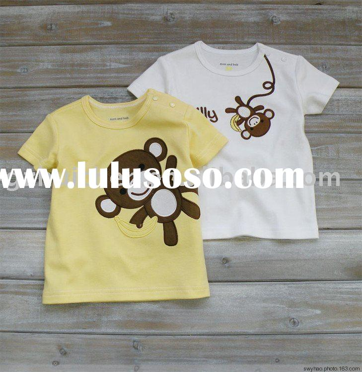 2011 summer baby clothing 100% cotton embroider short sleeve T-shirt
