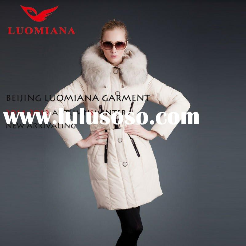 2012 HOT Women White Goose Down Coats Jackets With Fur Hood,Manufacture of down coat