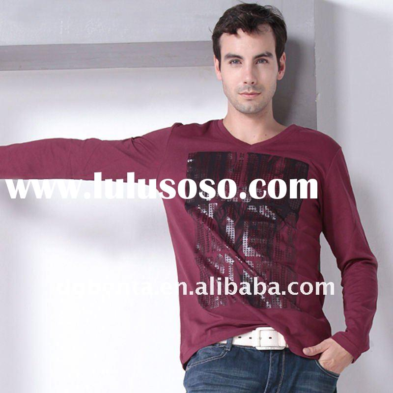 2012 Hot Selling Spring Newest Fashion Design High Quality Long Sleeve Printing Cotton Plain Man&amp