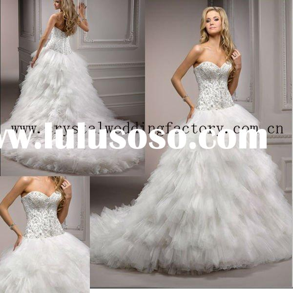 2012 embroidered beaded corset ball gown skirt ruffled custom-made chapel train bridal wedding dress
