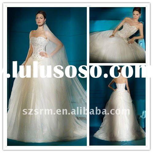 2012 hot sale strapless crystal beaded a-line brial wedding gown
