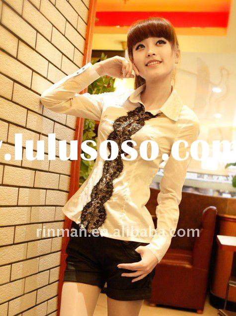 2012 spring new style cotton lace long sleeve shirt for ladies