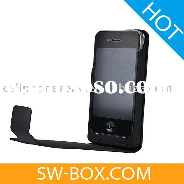 2100mAh External Battery Charger Power Pack Vertical Leather Case for iPhone 4 - Black