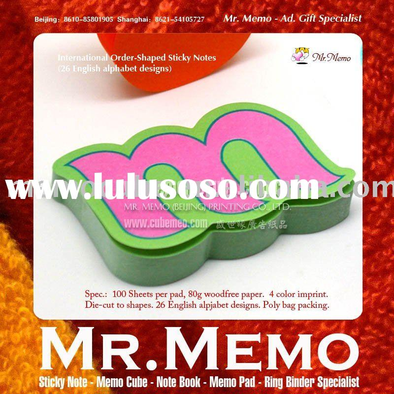 26 English alphabet shaped sticky note/memo pad/notepad/notebook