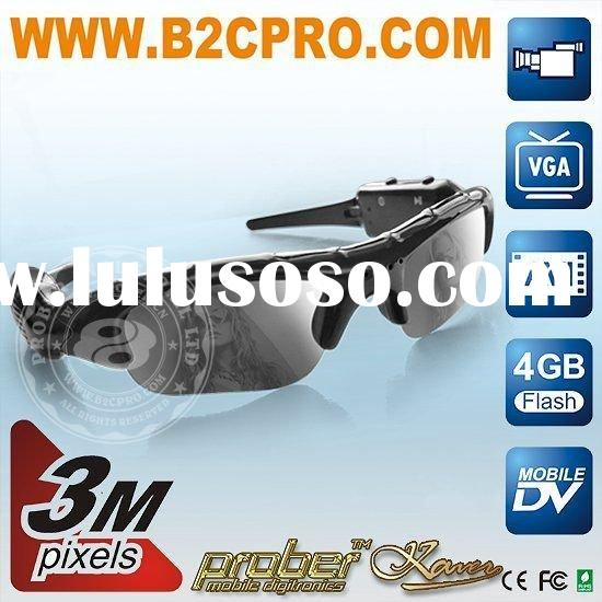 3.0 mega pixels digital video camera sunglasses with 4G memory card max 8GB TF/ SD