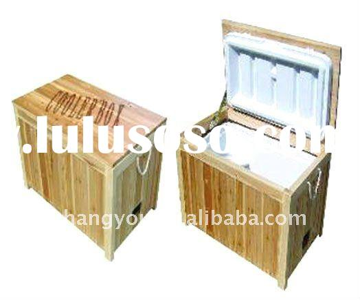 48L Environmental insulated outdoor wooden ice cooler box