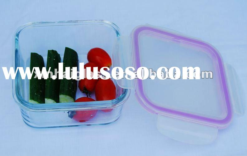 540ML square high borosilicate glass food container with airtight lid