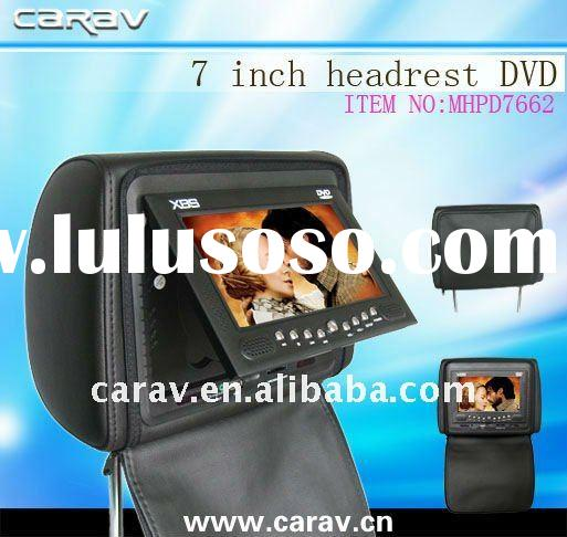 """7"""" TFT-LCD headrest car DVD player with wireless game,USB/SD,FM,Zipper cover/TV optional"""