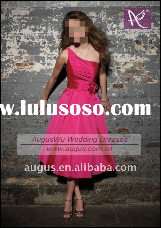 ABB067 Hot Pink One Shoulder Tea Length Bridesmaid Dress