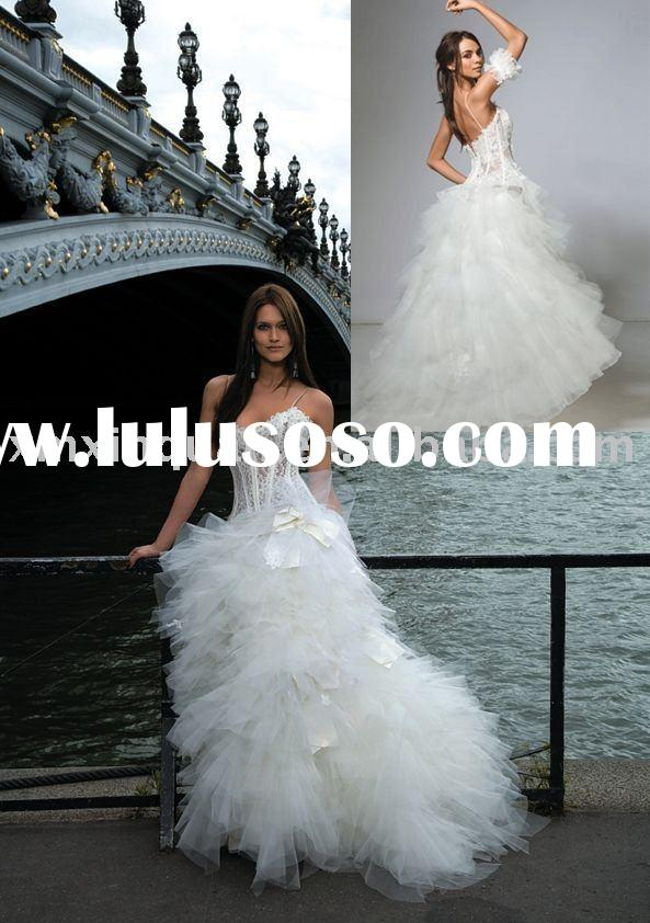 AW298 Unique ruffled ball gown transparent lace bodice wedding dress china