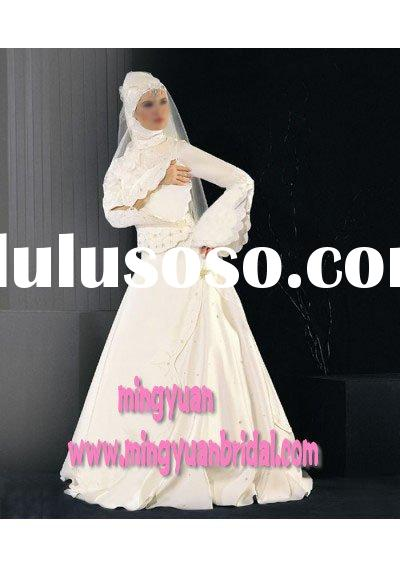 A-line skirt 2011 white long sleeve embroidered unique design muslim wedding gown