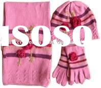 Acrylic Knitted Children Scarf, Hat, and Glove Set With Flower Applications