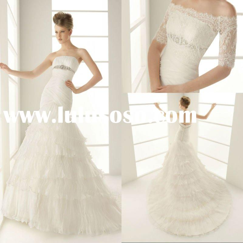 Affordable Strapless Bridal Gowns Beaded Mermaid backless Pleated Organza Applique Romantic Style 20