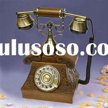 Antique wooden Telephone with Rotary dial Key figures