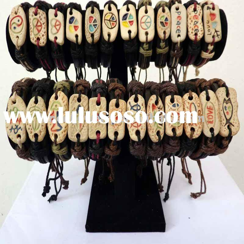 Artistical jewelry carved ceramic glaze charm leather bracelet with braided cord