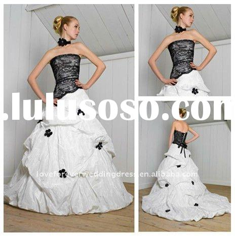 Ball Gown Taffeta Black and White Wedding Dresses Hot 2011