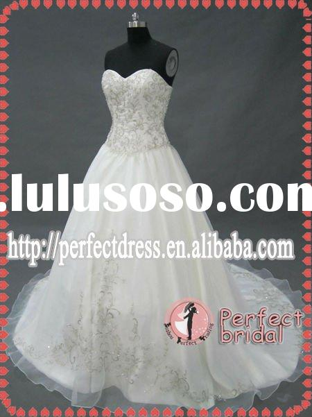 Beading and crystal ball gown wedding dress long train