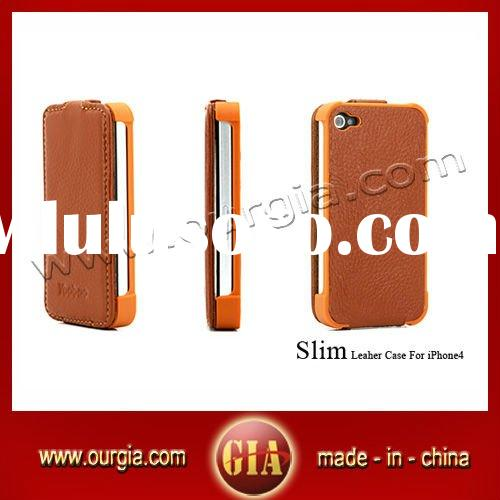 Brown Slim Genuine Leather Case Cover For Apple iPhone 4
