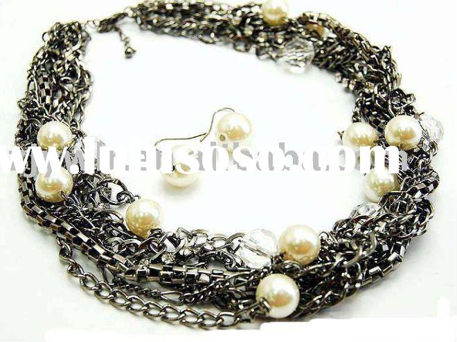 CHUNKY METAL PEARL CHOKER NECKLACE SET COSTUME JEWELRY