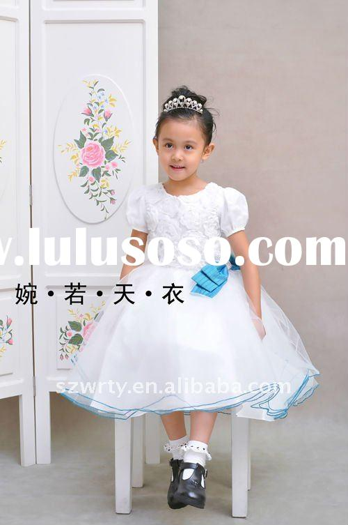 Cap sleeve flower girl dress lace bow 39306