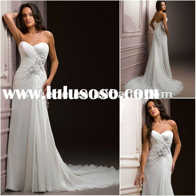 Custom made wholesale sweetheart chiffon bridal wedding dress