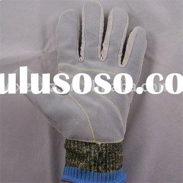 Cut Resistant Leather faced UHMWPE Glove/working glove/leather safety glove/leather glove/kevlar glo