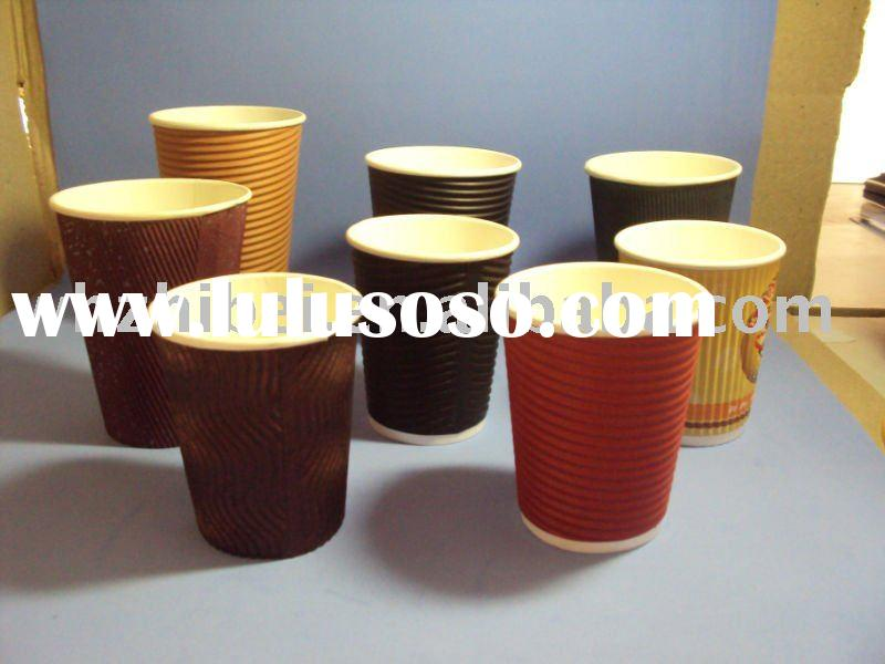 Disposable Hot Ripple paper cup, without lids, Multiple Colors Design