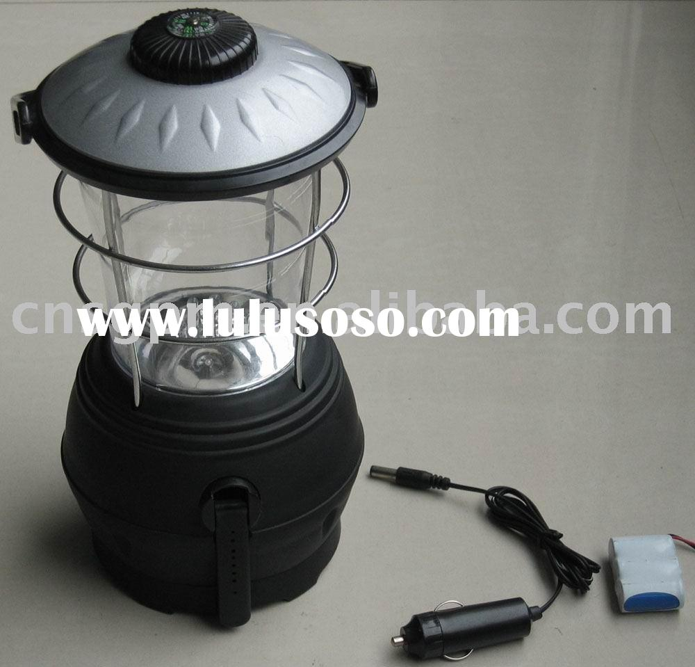 Dynamo crank rechargeable LED lantern camping light with compass