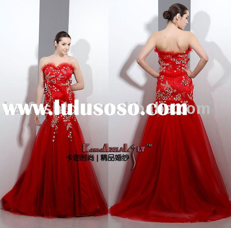 EM8018 2011 classical embroidery evening dress tulle formal dress