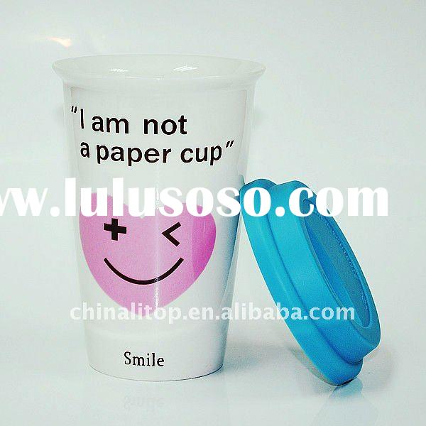 "Eco Ceramic Portable Travel Thermal Coffee Mug with Silicone Lid & Sleeve ""I am not a paper"