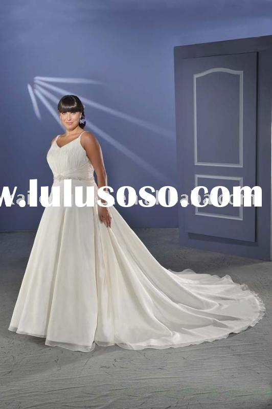 Empire A-line Plus Size Cathedral Chiffon Satin Beaded Wedding Dress 2011