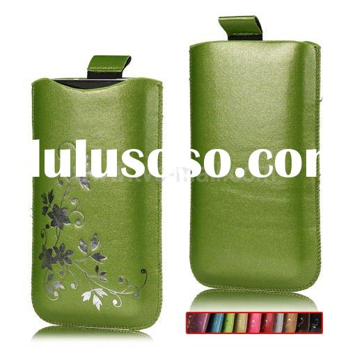 Flowers Leather Pouch Case with Pulling Strip for iPhone 4S 4 iPod Touch Series