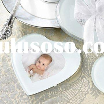Glass Heart Photo Frame Coasters Set Baby Shower Favors