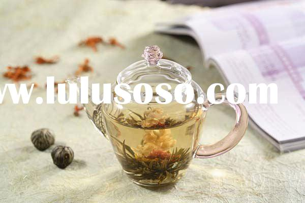 Glass Teapot with pink glass handle,flower lid&glass filter