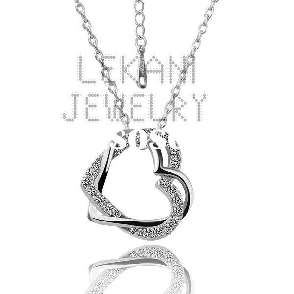 Hot sale!!! Hot fashion Austria crystal heart alloy necklace, 18K white gold diamond necklace LZABN0