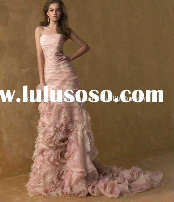 Hot sale pink strapless custom-made bridal wedding dress/wedding gown CWFaw459