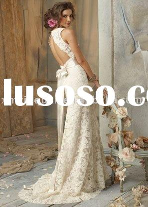 JHW011 Free shipping sleeveless open back lace wedding dress