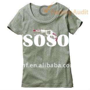 Ladies' grey printed casual short sleeve cotton t-shirts