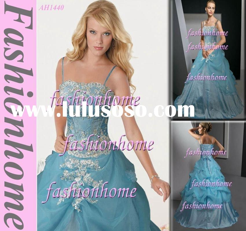 Light blue spaghetti strap beading sequin applique ball gown party dress evening dress AH1440