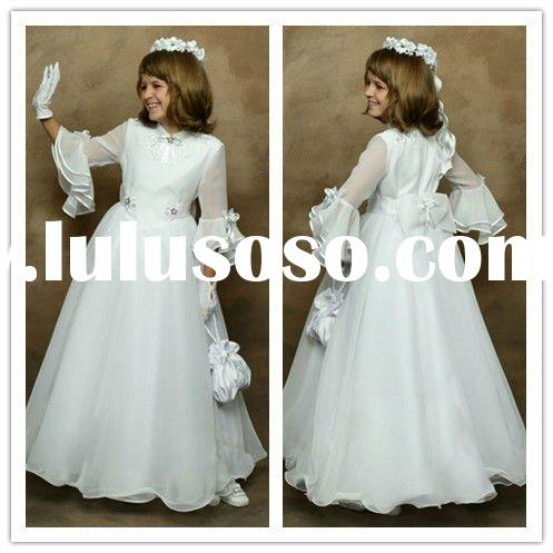 Long Sleeves Applique Chiffon A-line Full Length 2011 New Flower Girl Dresses