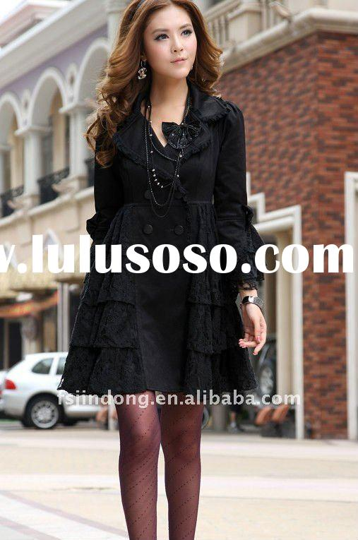 Long black lace jacket windbreaker/Ladies Jacket/women jacket/fashion coat