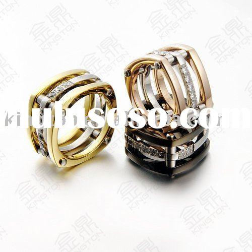 Luxury Fashion stainless steel engagement band ring with gold plated in 2010, huge stock, prompt shi