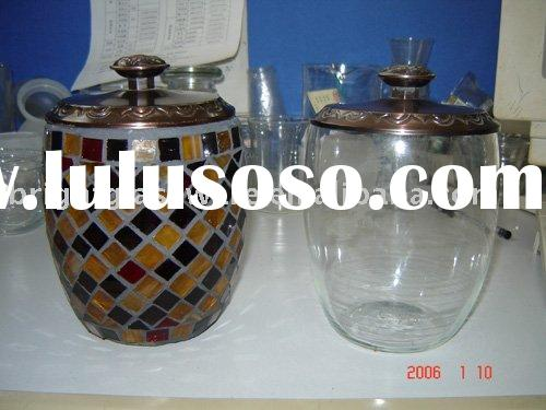 Mosaic glass bottle /cookie jar / food container
