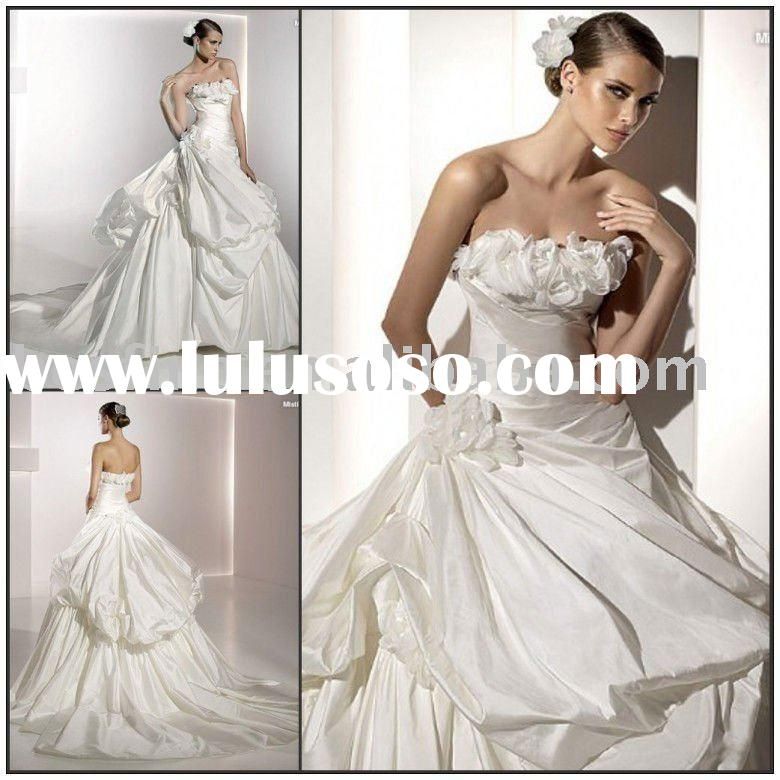 No.wd8894 flowers pick up skirt ball gown fabric satin or taffta 2012 bridal dress