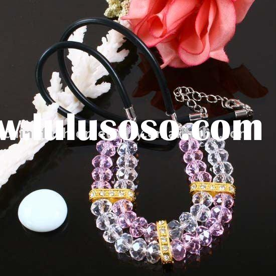 PINK & CLEAR QUARTZ CRYSTAL FACETED BEADS NECKLACE