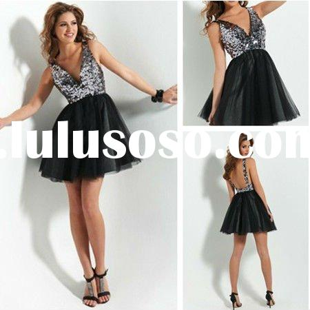 PM363 New Style Backless Sequined Prom Dresses 2012
