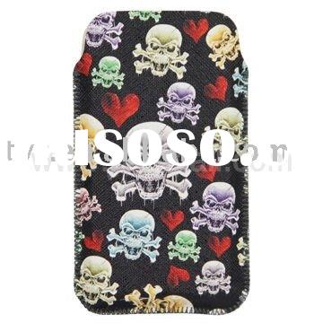Popular Skeleton Style Leather Pouch Case for iPhone 4G 3G/3GS&iPod etc (Size: 7.5*12.7cm)