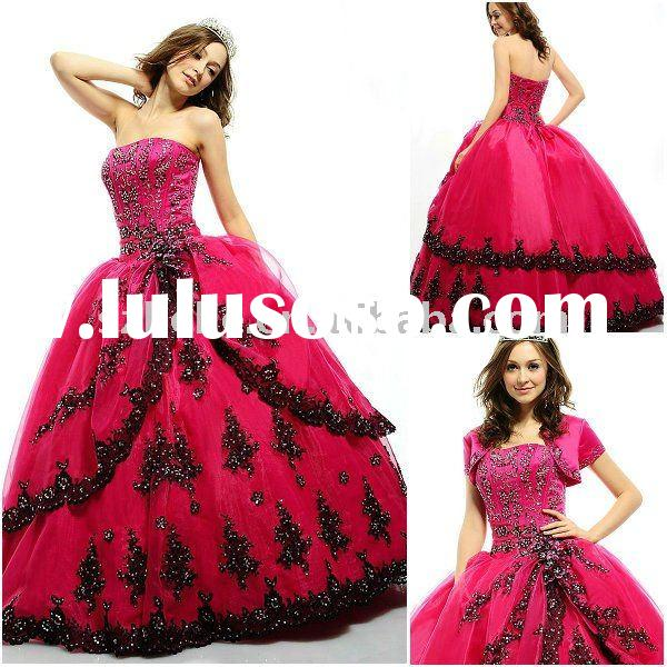 Puffy Organza hot pink quinceanera dress with black appliques