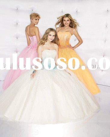 RQ018 Stylish satin beaded big skirt ball prom gown Quinceanera Dresses